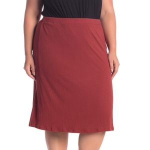 14th & Union Red Textured Knit Midi Skirt